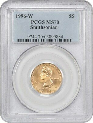 1996-W Smithsonian $5 PCGS MS70 - Modern Commemorative Gold