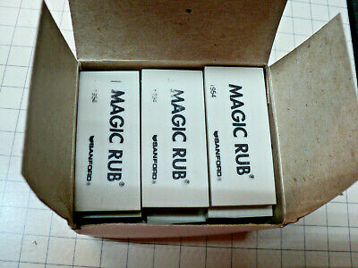 Twelve (12) SANFORD Magic Rub 1954 Erasers non-abrasive erasers NOS - Never Used