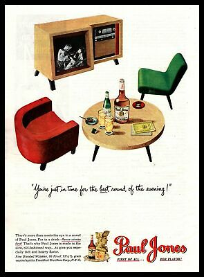 1947 Paul Jones Whiskey MCM Furniture Chairs Coffee Table TV Vintage Print Ad