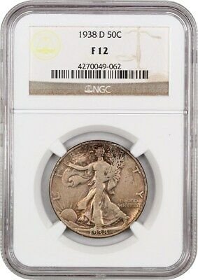 1938-D 50c NGC F12 - Low Mintage Issue - Walking Liberty Half Dollar