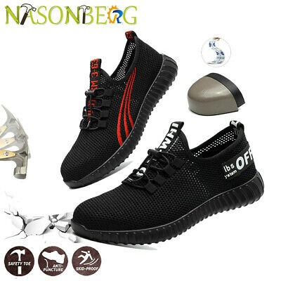 Mens Mesh Lightweight Safety Shoes Breathable Steel Toe Cap Work Trainers Boots