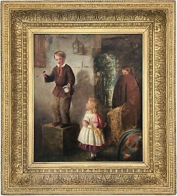 The Naughty School Boy Antique Genre Oil Painting by William Hemsley (1819-1893)