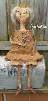 Americana Folk art Primitive Liberty Lady OOaK canvas,rag stuffed doll