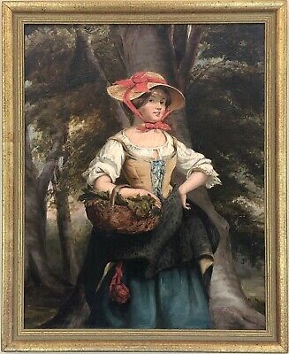 A Rustic Girl in a Wood Antique Oil Painting 19th Century English School