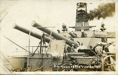 WWI USS Florida Battleship Real Photo Postcard of Soldiers & Big Guns