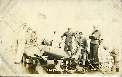 WWI USS Florida Battleship Real Photo Postcard of Soldiers, Flag & Torpedo's