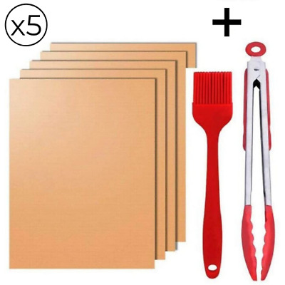 Lot x5 Tapis Cuisson Barbecue Reutilisable Anti Adhesif + 1 Pinceau + 1 Pince