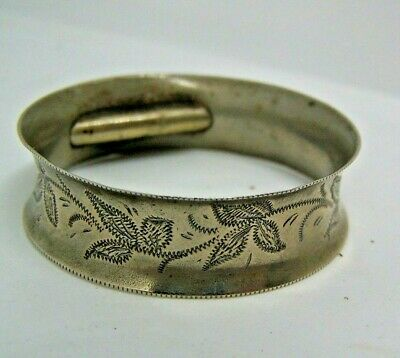 Napkin Ring With Toothpick Holder, Silver, Patent,Vintage