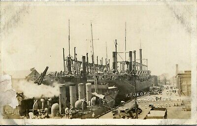 WWI USS Florida Battleship Real Photo Postcard of Ship at Port