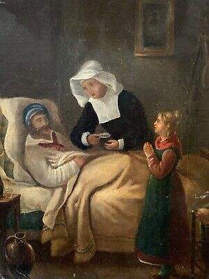 Early 19Th Century French Oil On Canvas - Patient In Bed Attended By Nun