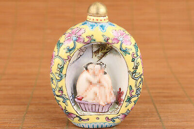 Antique Old porcelain hand painting relief new married Snuff Bottle art