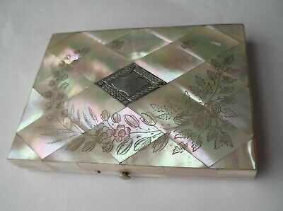 antique Victorian card holder/case with sterling silver & mother of pearl