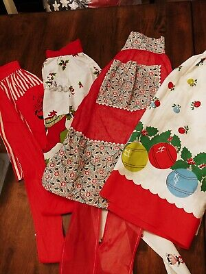 Vintage Apron Lot Hostess & Christmas Reds