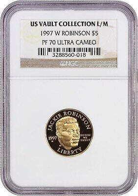 1997-W Jackie Robinson $5 NGC PR 70 UCAM - Modern Commemorative Gold