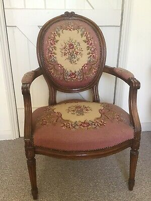 French Needlepoint Embroidered Fauteuil Armchair - Antique Louis XV Style Chair