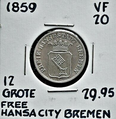 1859 German States: Free City of Bremen 12 Grote  VF-20