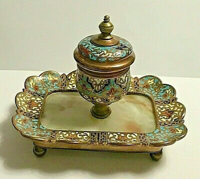 Antique French Gilt Bronze Champleve Cloisonne Enamel Inkwell with Glass Insert