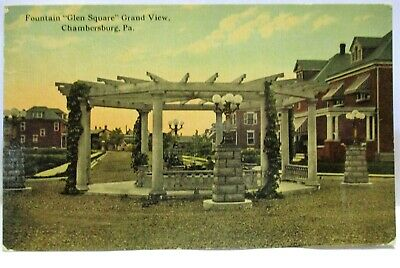 1910 Postcard Fountain, Glen Square, Grand View, Chambersburg Pa