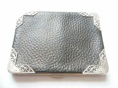 antique leather purse/ card holder with sterling silver, Birmingham 1901