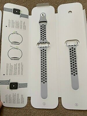 apple nike watch band 44mm pure platinum / black