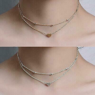 Double layer heart stylish necklace for women gold and silver pedant free bag