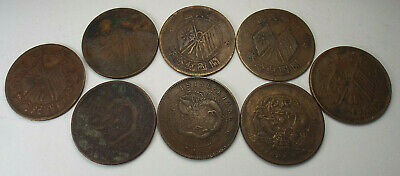 China 10 Cash / Wen Copper Circulated Coins - Lot of 8