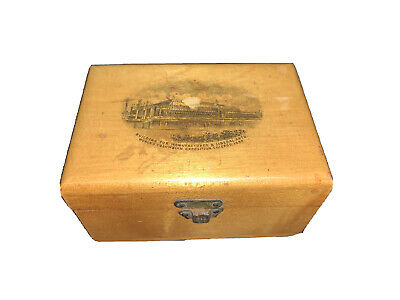 Antique ~ Mauchline Ware ~ Advertising - Box, World's Columbian Expo, Chicago
