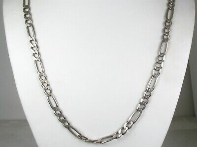 """Estate Sterling Silver 925 Figaro Chain Link Mens Necklace 37.2g 24""""L"""