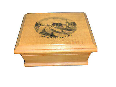 Antique ~ Mauchline Ware ~ Advertising - Box, Entrance To Ocean Grove