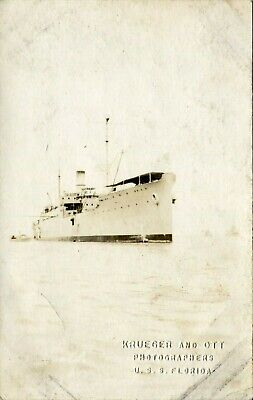 WWI USS Florida Battleship Real Photo Postcard of Ship at Sea