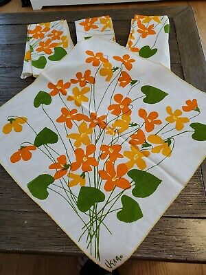 "Vintage Vera Neumann Cotton Napkins Set of 4 Floral Orange 15"" x 15"""