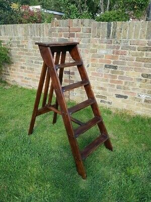 Antique French Wooden Step Ladder