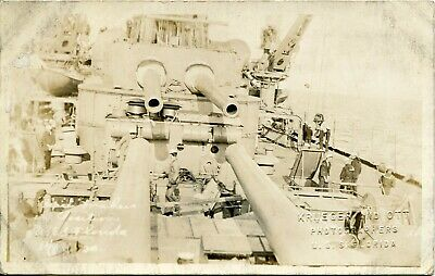 WWI USS Florida Battleship Real Photo Postcard of Peace Makers on Battleship