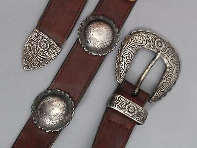 Antique Signed Authentic American Western Navajo Indian Silver Concho Belt, NR