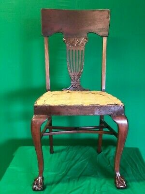 Four original mahogany Thomas Chippendale dining chairs. NOT reproductions.