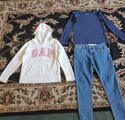 girls clothing bundle age 10-11 gap & next etc hoodie, jeans and t-shirt.