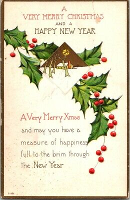 Vintage Postcard A Very Merry Christmas And A Happy New Year