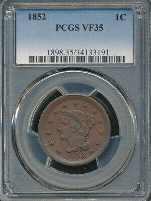 1852 Braided Hair Large Cent PCGS VF 35 *Excellent Type Coin!*