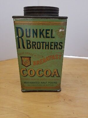 Vintage Runkel Brothers Breakfast Cocoa 1/2 pound tin