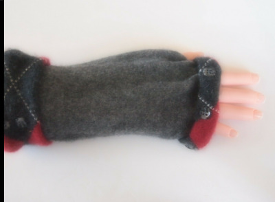 Fingerless Gloves Gray Black Red Grey Women's Cashmere One Size Fits