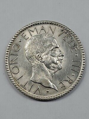 ITALY, 1927-r 20 Lire Silver Coin Great Details