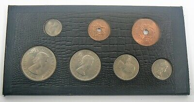 Rhodesia and Nyasaland 7 Coin set in Leatherette holder 1955, 1957,1958,1961