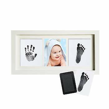 Newborn Baby Hand and Foot Print Photo Frame Kit with Included Safe Black Touch