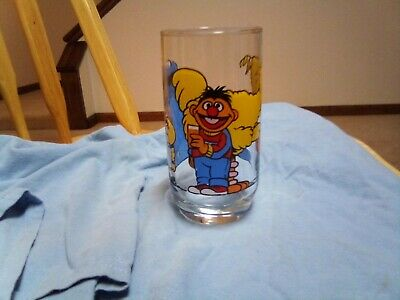 Vtg Sesame Street Glass LARGE Kids Child Children's Cup Jim Henson Muppets Inc.