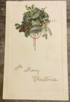 Vintage Christmas Postcard Silver Bell Holly Pinecone Rich Color Ornate Embossed