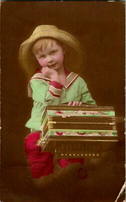 Little Girl With Hat & Music Box Postcard