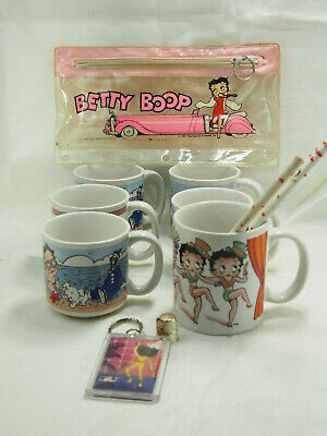 1989 lot 6 Collectible Baby Betty Boop Cups mugs King Features Pencils thimble