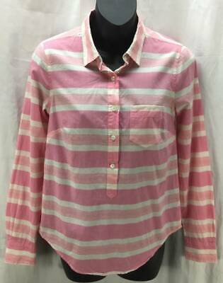 J CREW Top 0 Pink Stripe Tunic Collar Long Sleeve Button Womens 1375