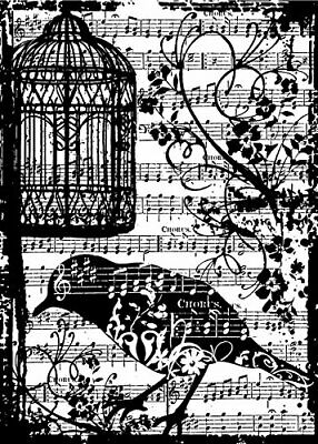 BIRD SONG Cling Rubber Stamp ATC Sized by Tim Holtz