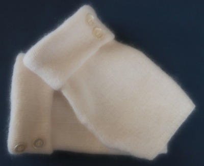 Fingerless Gloves Ivory Winter White Angora Wool Women's Size Large L Texting